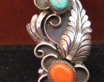 Sterling Silver Coral Turquoise Native American Style Size 7 Ring (0005)