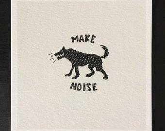 "Make Noise 5""x 5"" Art Print/Illustration/Home Decor/Gift Idea/Dog/Wolf"
