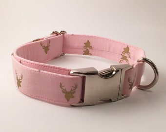 Light Pink with Metallic Gold Bucks Adjustable Dog Collar