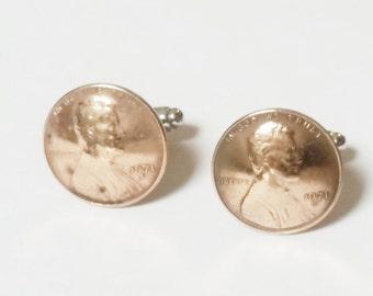 40th Birthday 1976 Penny Cuff links Coin Cufflinks Birthday For Him Groomsmen Gift Bride and Groom Gift Wedding Present