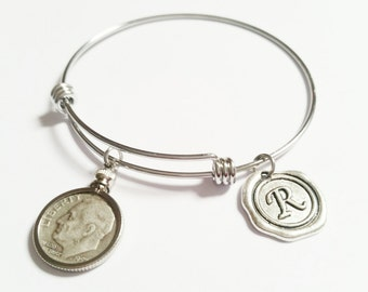 40th Birthday Gift 1978 Silver Dime Bracelet Birth Year Birthdate Coin Bezel Expandable Bangle Charms Anniversary Reunion 30th 50th 60th