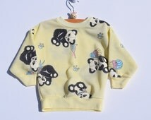 Vintage 80s Panda with Balloons Crewneck Sweatshirt, Size 2T - Vintage Kids Clothes - Vintage Toddler Clothes - Kids Vintage Sweatshirt