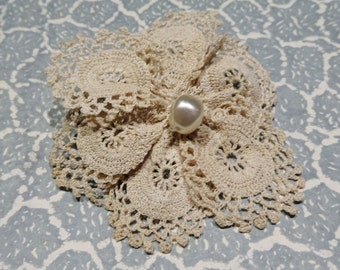 Flower lace brooch made from vintage doily