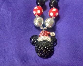 Mickey Mouse Inspired Santa Hat Toddler Bubblegum Necklace.  Mickey Mouse Santa Claus Hat Pendant Gumball Necklace