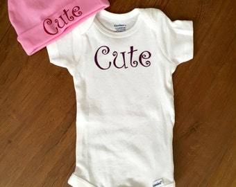 Baby Girl Onesie and Hat