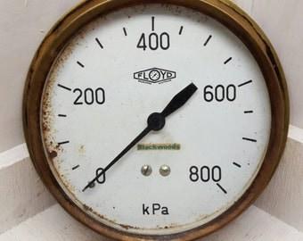 Large Brass KPA Pressure Gauge Steampunk Prop Decor