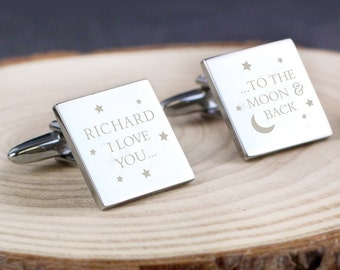 Personalised To the Moon and Back Square Cufflinks (wedding cufflinks, groom cufflinks, gift for groom)