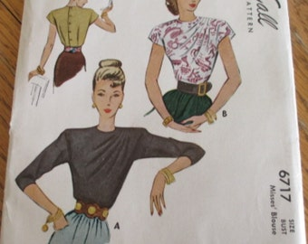 Vintage McCall's Sewing Pattern 6717 Misses' Blouse Sz 14 Bust 32 Waist 26-1/2 Hip 35 Uncut Factory Fold Instruction Sheet, Copyright 1946