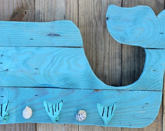 Turquoise Blue Whale Pallet Key Holder