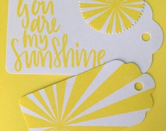 x6 Handmade Stamped Gift Tags - Sunshine Set