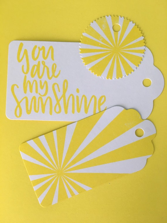 x6 Handmade Stamped Gift Tags Sunshine by CharlieLouisaDesigns