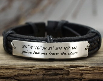 Custom Coordinates Bracelet, Latitude Longitude Bracelet, Custom Mens Leather Bracelet, Engraved Bracelet, Genuine Leather, Anniversary Gift
