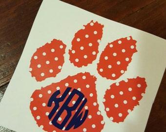 Auburn Tiger Paw Decal with Monogram