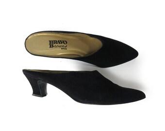 Black Suede Mule Slide Vintage 90s Size 5 / 5.5