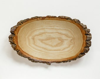Natural edged wooden fruit bowl