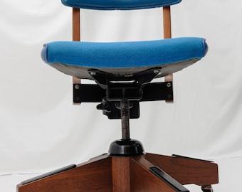 SOLDDONOTBUYSOLDDONOBUYMid Century Modern Gunlocke Office Chair Dark Walnut Blue Copper Casters