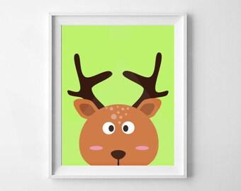 Deer Print | Animal Nursery Print | Nursery and Child's room decor | Digital Download