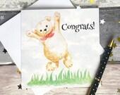 Congratulations card, teddy bear card, new baby card, cute card, blank card, greeting card