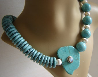 Exclusive designer turquoise gemstone necklace - Labradorite and 925 Silver