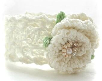 Crochet White Rose Bracelet With Beads, Knitted Bracelet, Crocheted Bracelet, Tunisian Crochet Bracelet