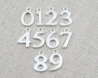 Add a silver number charm, personalize my piece, initial charm, add on