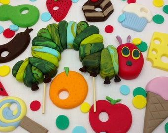 The Hungry Caterpillar Cake Topper and Picnic Lunch Set Birthday Cake Edible Decorations