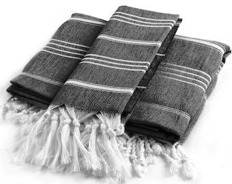 Towel Turkish Cotton Peshtemal Cloth Bath Bathroom Table Kitchen Beach Pool - Gray Stripe