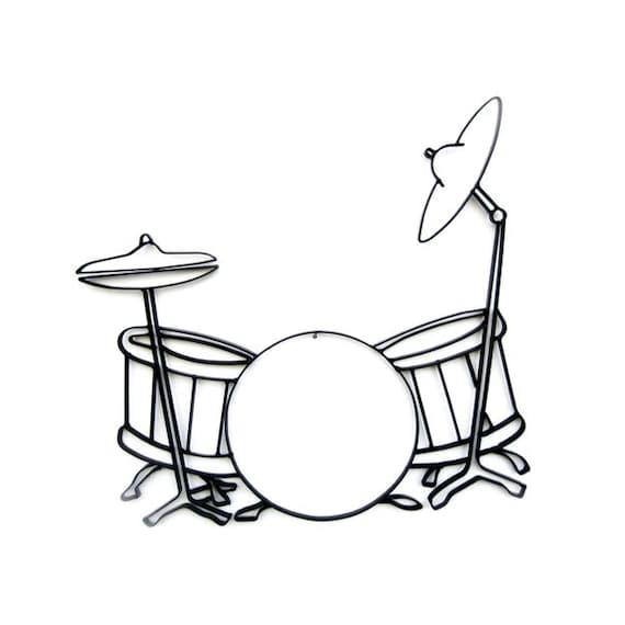 Drum Set Wall Decor : Drum drummer set musical black metal wall art decor