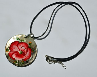 Mother of Pearl Russian Hand Painted Necklace Pendant, Red Flower