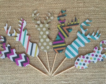 Modern Prints Glitter Deer Cupcake Picks 6ct