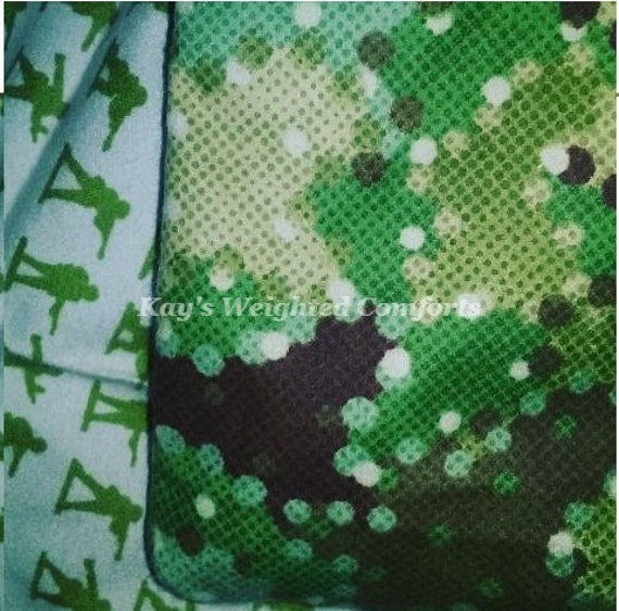 Small child green military soldier men flannel print with digital camo print print comforting and relaxing weighted blanket 6lbs