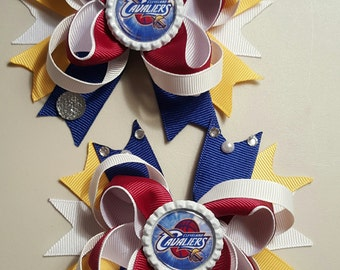 Cavaliers Cleveland Girls Hair Bows.  Set of 2