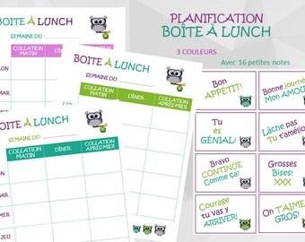 Planification de Boîte à Lunch pour ENFANTS, fichier digital à imprimer, retour à l'école, thème petits hiboux