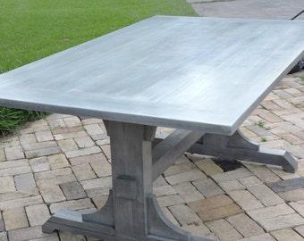 Farmhouse Modern Dining Table 6 Six, Grey Gray