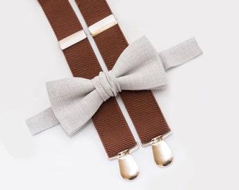 Kids Bow Tie Suspenders, Light Gray Bow Tie & Brown Suspenders,  Ring Bearer Outfit