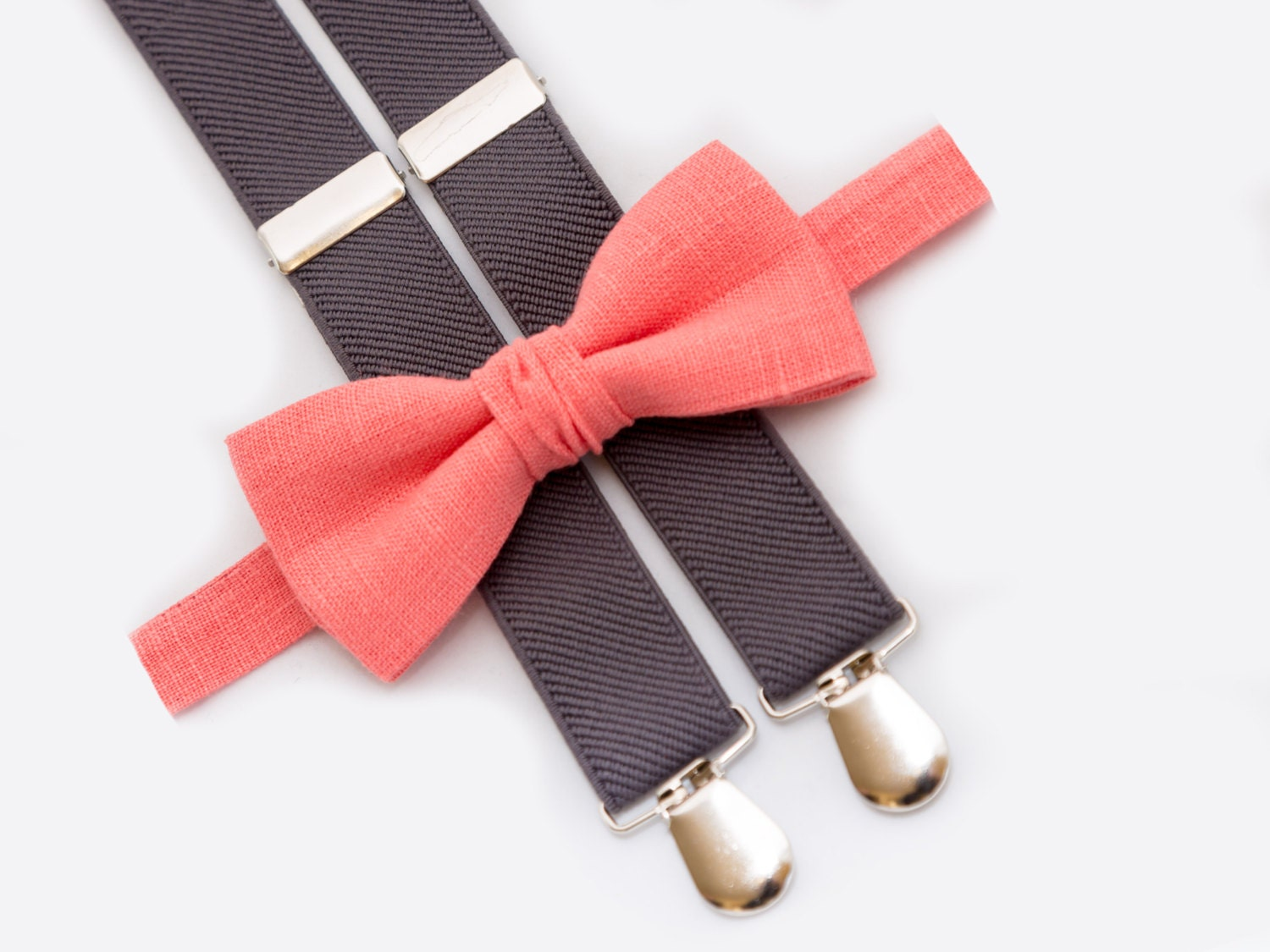 coral bow tie and gray suspenders baby boy birthday