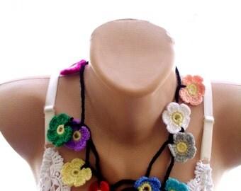 crochet lariat scarf, crochet necklace, crochet scarf, , crochet flower scarf, crochet necklace, scarves for her