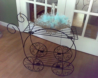 Metal Plant Stand , Black metal stand, plant cart, 2 tiered dispaly stand, wedding display