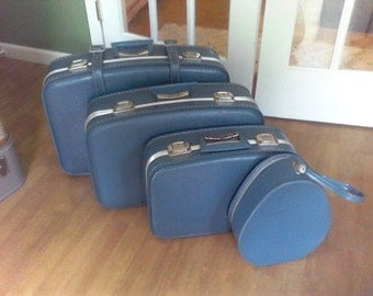 Vintage blue suitcase set, 4 pc. set, vintage luggage