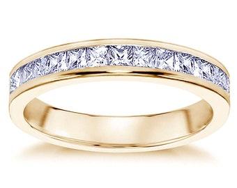 0.70 CT Princess Cut Diamond Wedding Band in 18k Yellow Gold Channel Setting