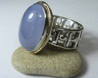 Chalcedony Ring - Blue Chalcedony Ring - Sterling Silver Ring - 14k Gold Ring -  Oval Chalcedony Ring - Chalcedony Cabochon - Size 6.5 Ring