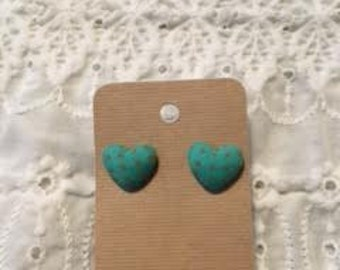 Teal Fabric Heart earrings w/ Orange polka dots