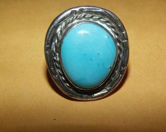 vintage turquoise and sterling silver ring marked J