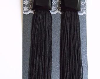 Black Long Tassel Earrings, Fringe Earrings