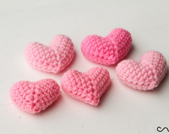 NEW 5 x Handmade Crochet Pink Hearts 3D Charm Wedding Card-making Deco Sewing Motifs [Free Shipping UK]