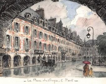 Paris: Place des Vosges — Watercolor - 21 x 13 cm - 8.3 x 5.1 inches
