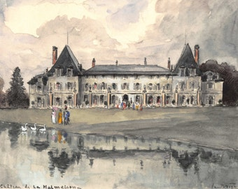 Château de Malmaison — French watercolor from the 1960s - 18 x 14 cm - 7 x  5.5 inches