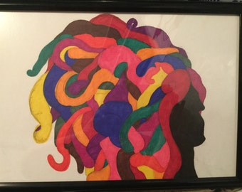 Hair (12 in. x 18 in. framed illustration)
