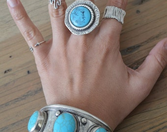 Turquoise stone midi ring, Silver Plated Zamak Gemstone Cabochon Ring, Bohemian Gypsy Free People style ring, US Women Ring Size 7inch-18cm