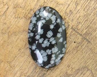 Snowflakes Obsidian Cabochon